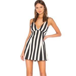 LPA Deep V black and white striped mini dress
